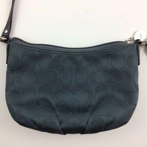 Coach Shoulder Mini Bag Blue Satin Purse Emblem